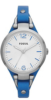 Fossil Women's Georgia Watch in Stainless Steel with Blue Leather Strap