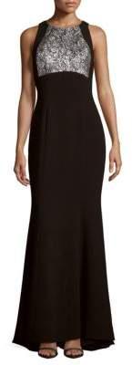 Carmen Marc ValvoPaisley Pattern Crepe Gown