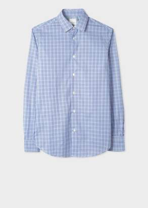 Paul Smith Men's Tailored-Fit Navy Two-Tone Gingham Cotton Shirt