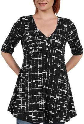 24/7 Comfort Apparel 24Seven Comfort Apparel Women's Amina Henley Style Black and White Tunic Top