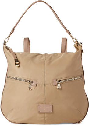 Patrizia Pepe Beige Nylon Convertible Hobo Backpack