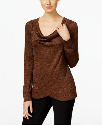 INC International Concepts Draped Metallic Sweater, Only at Macy's $69.50 thestylecure.com