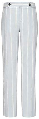 Banana Republic Avery Straight-Fit Stretch Linen-Cotton Stripe Ankle Pant