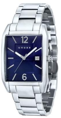 Cross Gotham Men's Quartz Watch with Blue Dial Analogue Display and Silver Stainless Steel Bracelet CR8001-33