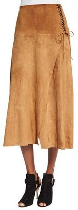 Ralph Lauren Collection Lace-Up Suede A-Line Skirt, Caramel $2,990 thestylecure.com