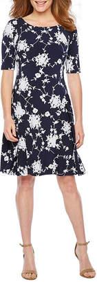 Rabbit Rabbit Rabbit DESIGN Design Short Sleeve Floral Puff Print Fit & Flare Dress