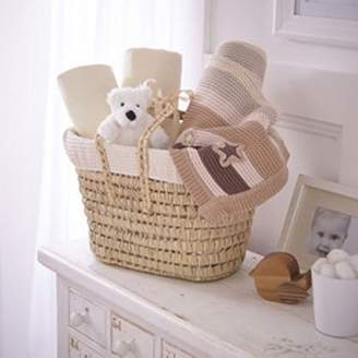 Clair De Lune Waffle Luxury Gift Basket to fit Cot Bed, Cream