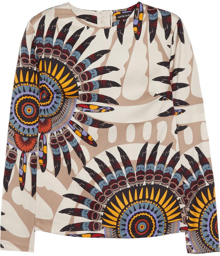 Antik Batik Printed stretch-silk twill top