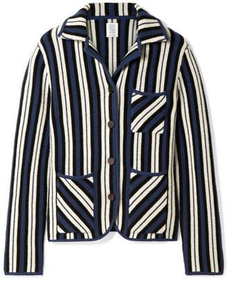 Striped Waffle-knit Cashmere Blazer - Storm blue