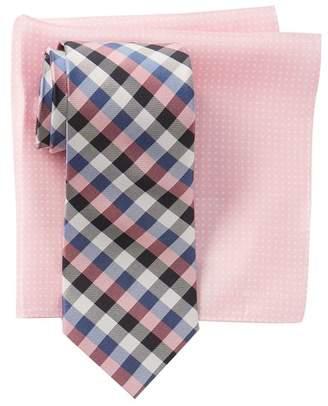 Tommy Hilfiger Silk Gingham Tie & Dot Print Pocket Square Set