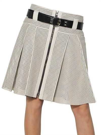 Proenza Schouler Perforated Nappa Leather Pleated Skirt