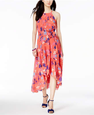 Vince Camuto Ruffled Floral Print High-Low Maxi Dress