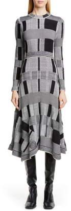 Proenza Schouler Plaid Long Sleeve A-Line Sweater Dress