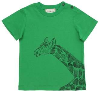 Gucci Giraffe Print Cotton Jersey T-Shirt