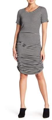Pleione Side Ruched Stripe Dress