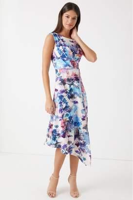 Closet Womens Draped Floral A Line Midi Dress - Blue