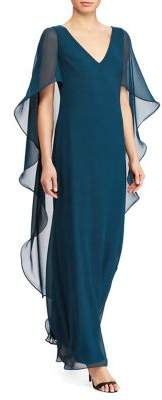 Lauren Ralph Lauren V-Neck Cascade Cape Gown