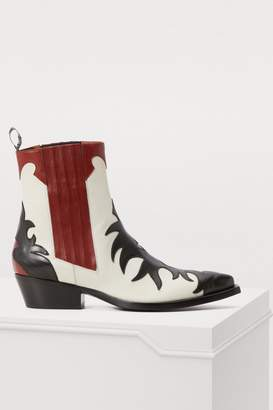 Sartore Flamm leather cowboy ankle boots