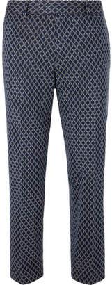 Gucci Navy Caspian Cropped Logo-Jacquard Cotton Trousers