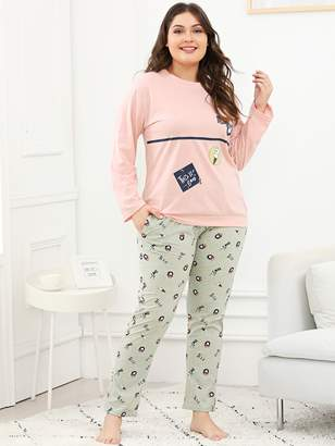 ec6d6f72b4 Shein Plus Bear   Letter Print Pajama Set