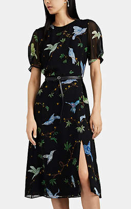 Altuzarra Women's Gorman Bird- & Floral-Print Chiffon Dress - Black Pat.