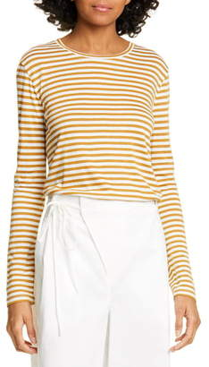 Vince Stripe Long Sleeve Silk Blend Tee