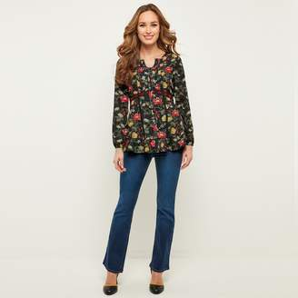Joe Browns Long-Sleeved Crew Neck Tunic with Floral Print