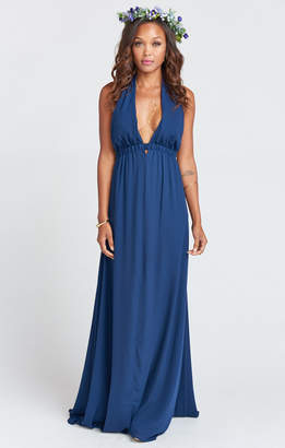 Show Me Your Mumu Luna Halter Dress ~ Rich Navy Crisp