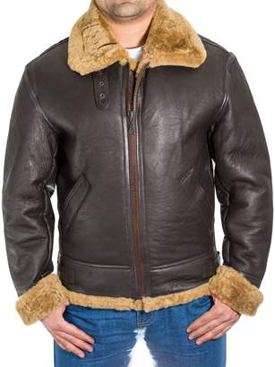 A to Z Leather Mens Brown Aviator Classic B3 100% Sheepskin Pilot WW2 Flying Jacket