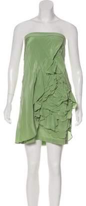 Robert Rodriguez Ruffle-Accented Strapless Dress