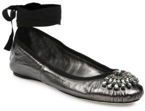 Jimmy Choo Grace Crystal-Embellished Metallic Leather Ankle-Wrap Ballet Flats $595 thestylecure.com