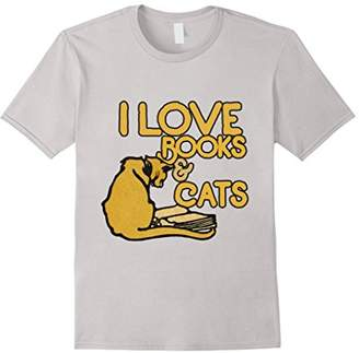 I love Books & Cats shirt vintage reading cat lover tshirt