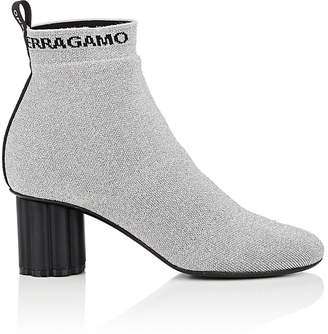Salvatore Ferragamo Women's Flower-Heel Knit Ankle Boots
