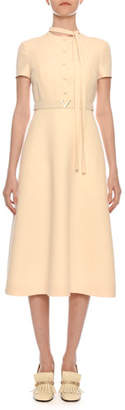 Valentino Short-Sleeve Button-Bib A-Line Crepe Midi Dress w/ V-Logo Belt