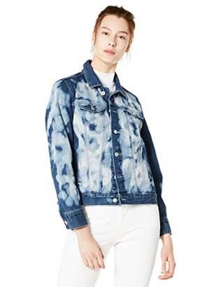 DANNE MORA Women's Denim Jacket Casual Loose Tie Dyed Blue Jean Jacket