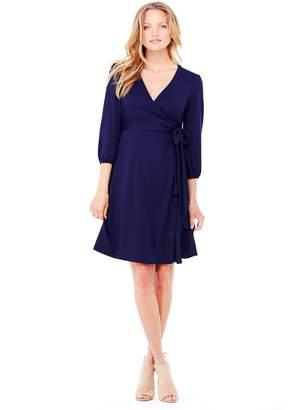 Ingrid & Isabel Women's Maternity 3/4 Sleeve Wrap Dress