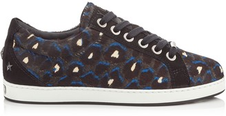 Jimmy Choo CASH/F Pop Blue Mix Leopard Print Pony and Black Suede Low Top Trainers