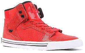 Supra The Vaider Sneaker in Red Snakeskin
