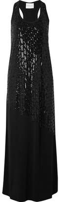 Marie France Van Damme - Sequined Stretch-jersey Maxi Dress - Black