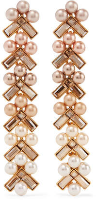 Gold-plated, Faux Pearl And Crystal Earrings