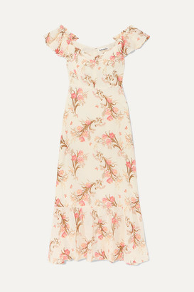 Reformation Butterfly Off-the-shoulder Tiered Floral-print Crepe Dress - Ecru