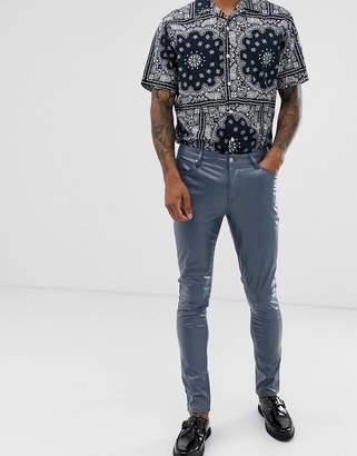 Asos Design DESIGN super skinny coated leather look jeans in gunmetal blue