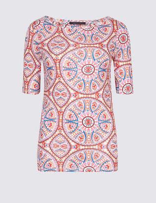 M&S Collection Pure Cotton Tile Print Half Sleeve T-Shirt