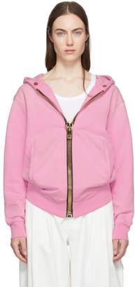 Palm Angels Pink Maxi Zip Hoodie