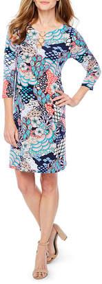 MSK 3/4 Sleeve Pattern Shift Dress