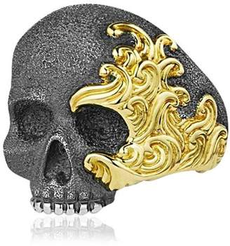 David Yurman Waves Skull Gold & Silver Ring