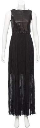 Alice + Olivia Leather-Accented Evening Dress
