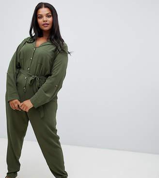 New Look Plus Curve collar jumpsuit in khaki
