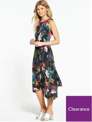 Wallis Petite Palm Floral Hanky Hem Dress