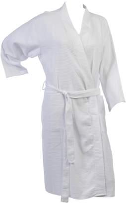 Waite Ltd Ladies Lightweight Waffle Textured Dressing Gown 100% Cotton Long Sleeved Wrap Bath Robe
